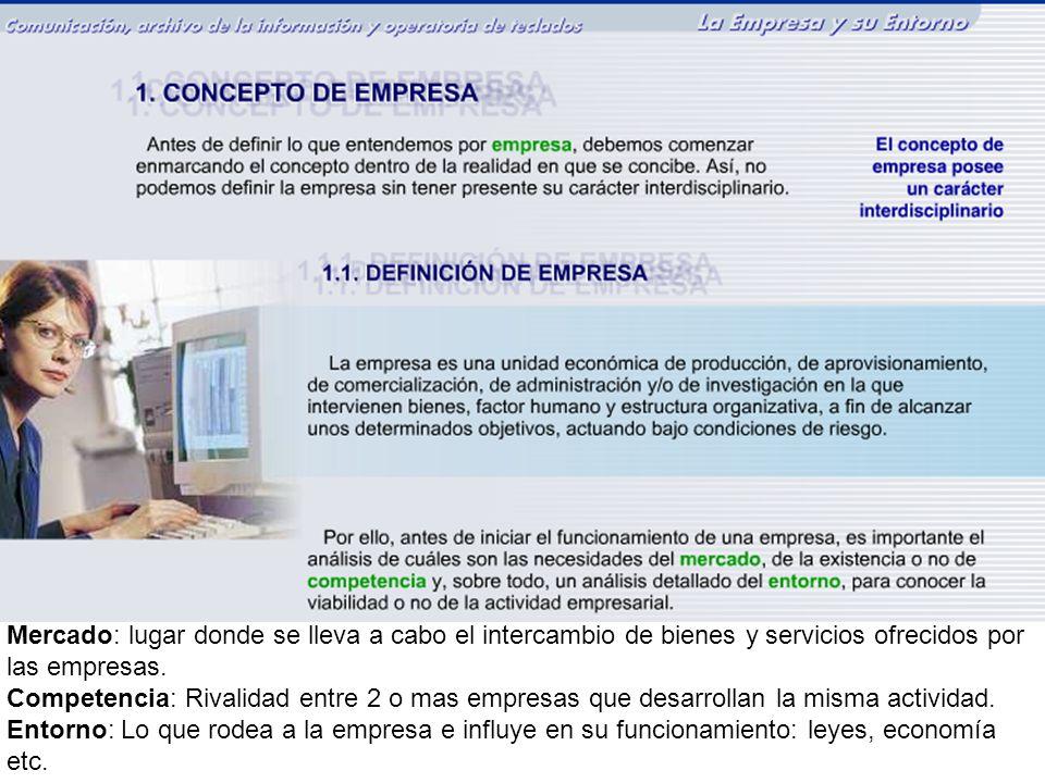 Empresario: Persona física o Jurídica que aporta el dinero, toma decisiones y asume riesgos.