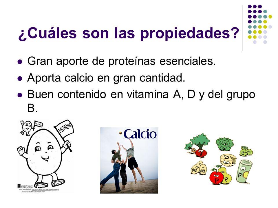¿Cuáles son las propiedades? Gran aporte de proteínas esenciales. Aporta calcio en gran cantidad. Buen contenido en vitamina A, D y del grupo B.