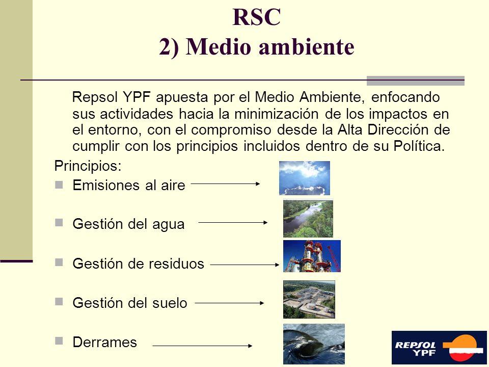 11 RSC 2) Medio ambiente Repsol YPF apuesta por el Medio Ambiente, enfocando sus actividades hacia la minimización de los impactos en el entorno, con