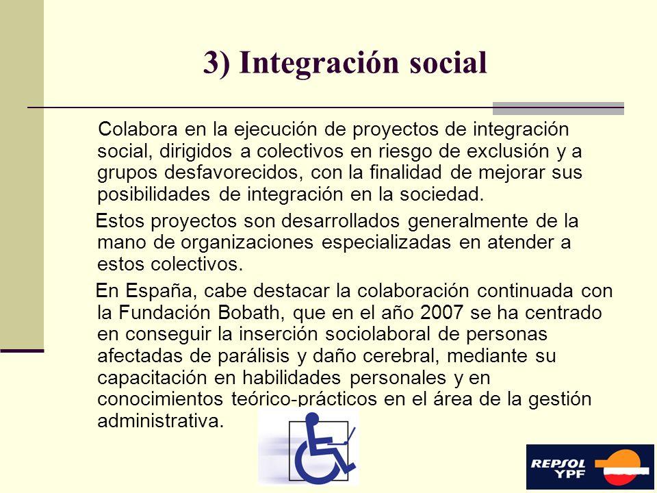12 3) Integración social Colabora en la ejecución de proyectos de integración social, dirigidos a colectivos en riesgo de exclusión y a grupos desfavo