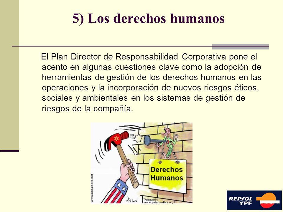 14 5) Los derechos humanos El Plan Director de Responsabilidad Corporativa pone el acento en algunas cuestiones clave como la adopción de herramientas
