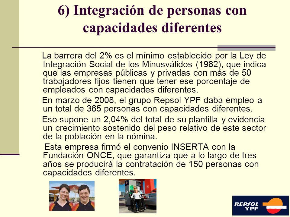 15 6) Integración de personas con capacidades diferentes La barrera del 2% es el mínimo establecido por la Ley de Integración Social de los Minusválid