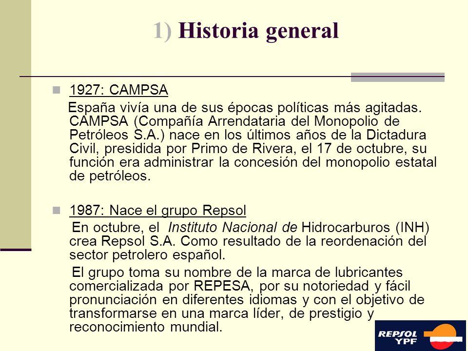 3 1) Historia general 1927: CAMPSA España vivía una de sus épocas políticas más agitadas. CAMPSA (Compañía Arrendataria del Monopolio de Petróleos S.A
