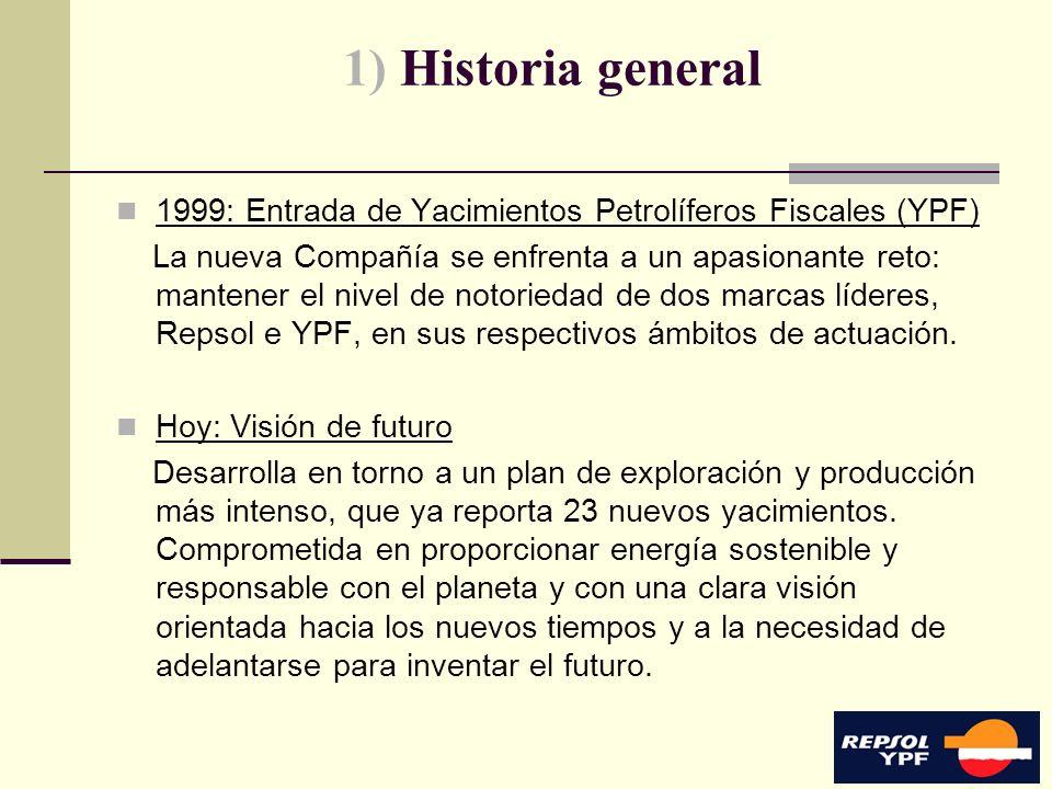 4 1) Historia general 1999: Entrada de Yacimientos Petrolíferos Fiscales (YPF) La nueva Compañía se enfrenta a un apasionante reto: mantener el nivel