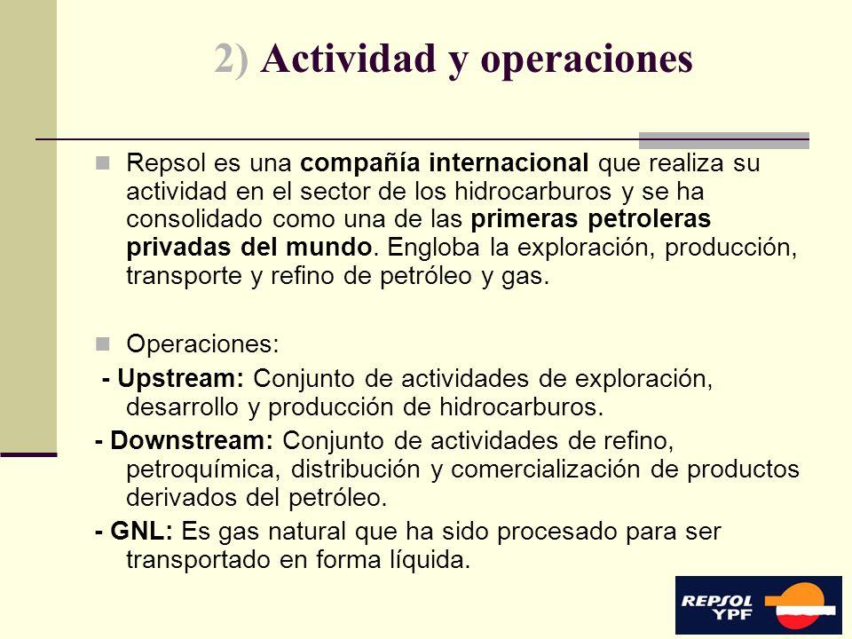 5 2) Actividad y operaciones Repsol es una compañía internacional que realiza su actividad en el sector de los hidrocarburos y se ha consolidado como