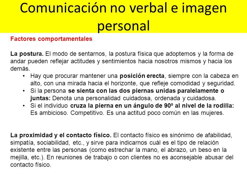 Comunicación no verbal e imagen personal Factores comportamentales La postura. El modo de sentarnos, la postura física que adoptemos y la forma de and