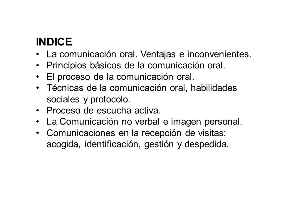 INDICE La comunicación oral. Ventajas e inconvenientes. Principios básicos de la comunicación oral. El proceso de la comunicación oral. Técnicas de la