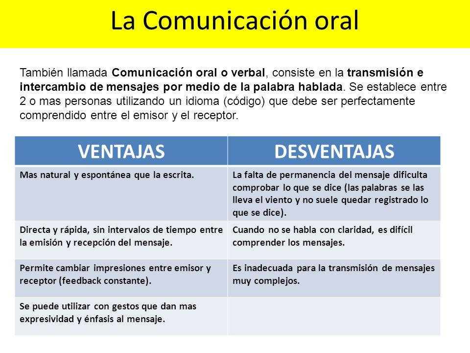 También llamada Comunicación oral o verbal, consiste en la transmisión e intercambio de mensajes por medio de la palabra hablada. Se establece entre 2