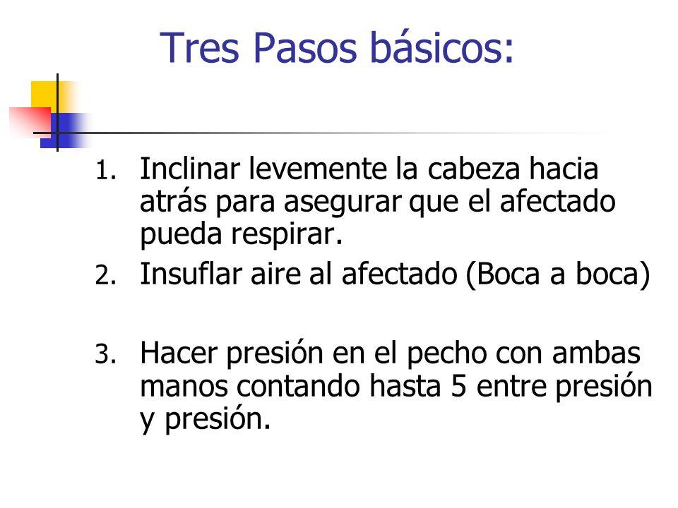 Tres Pasos básicos: 1. Inclinar levemente la cabeza hacia atrás para asegurar que el afectado pueda respirar. 2. Insuflar aire al afectado (Boca a boc
