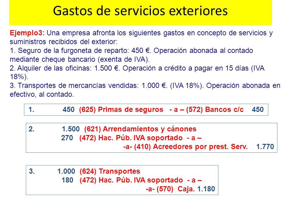 Ejemplo3: Una empresa afronta los siguientes gastos en concepto de servicios y suministros recibidos del exterior: 1. Seguro de la furgoneta de repart