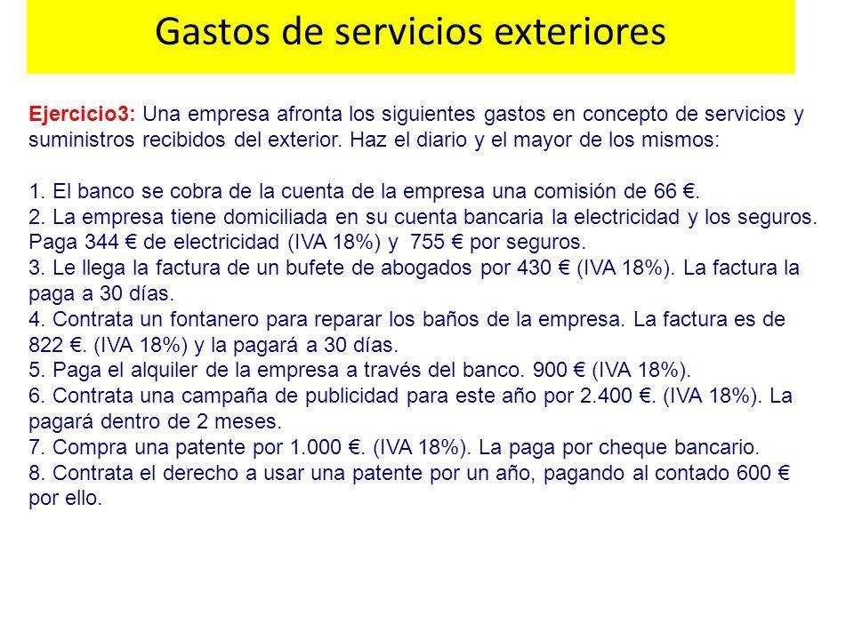 Ejercicio3: Una empresa afronta los siguientes gastos en concepto de servicios y suministros recibidos del exterior. Haz el diario y el mayor de los m