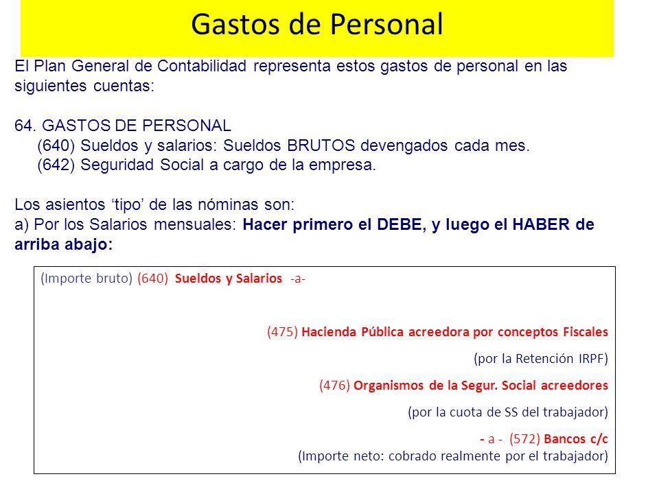 El Plan General de Contabilidad representa estos gastos de personal en las siguientes cuentas: 64. GASTOS DE PERSONAL (640) Sueldos y salarios: Sueldo