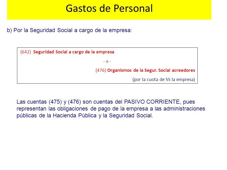 Gastos de Personal b) Por la Seguridad Social a cargo de la empresa: (642) Seguridad Social a cargo de la empresa - a - (476) Organismos de la Segur.