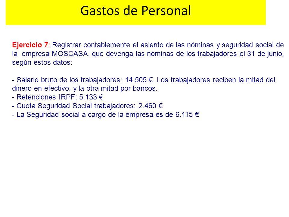 Ejercicio 7: Registrar contablemente el asiento de las nóminas y seguridad social de la empresa MOSCASA, que devenga las nóminas de los trabajadores e