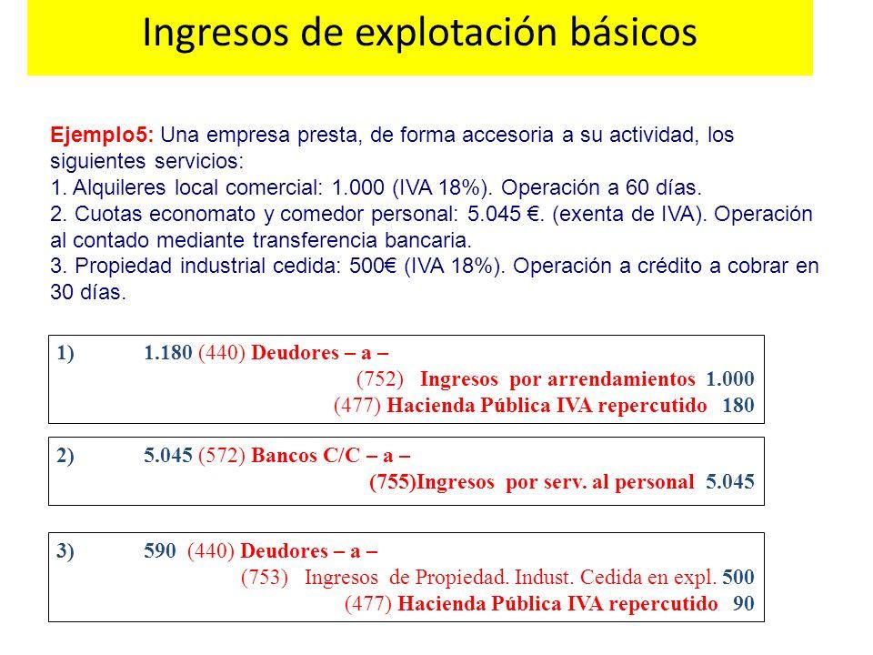 Ejemplo5: Una empresa presta, de forma accesoria a su actividad, los siguientes servicios: 1. Alquileres local comercial: 1.000 (IVA 18%). Operación a