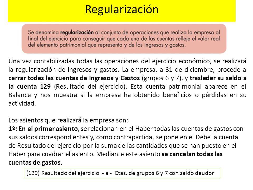 Regularización Una vez contabilizadas todas las operaciones del ejercicio económico, se realizará la regularización de ingresos y gastos. La empresa,