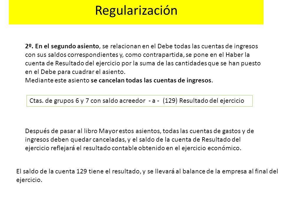 Regularización Ctas. de grupos 6 y 7 con saldo acreedor - a - (129) Resultado del ejercicio El saldo de la cuenta 129 tiene el resultado, y se llevará