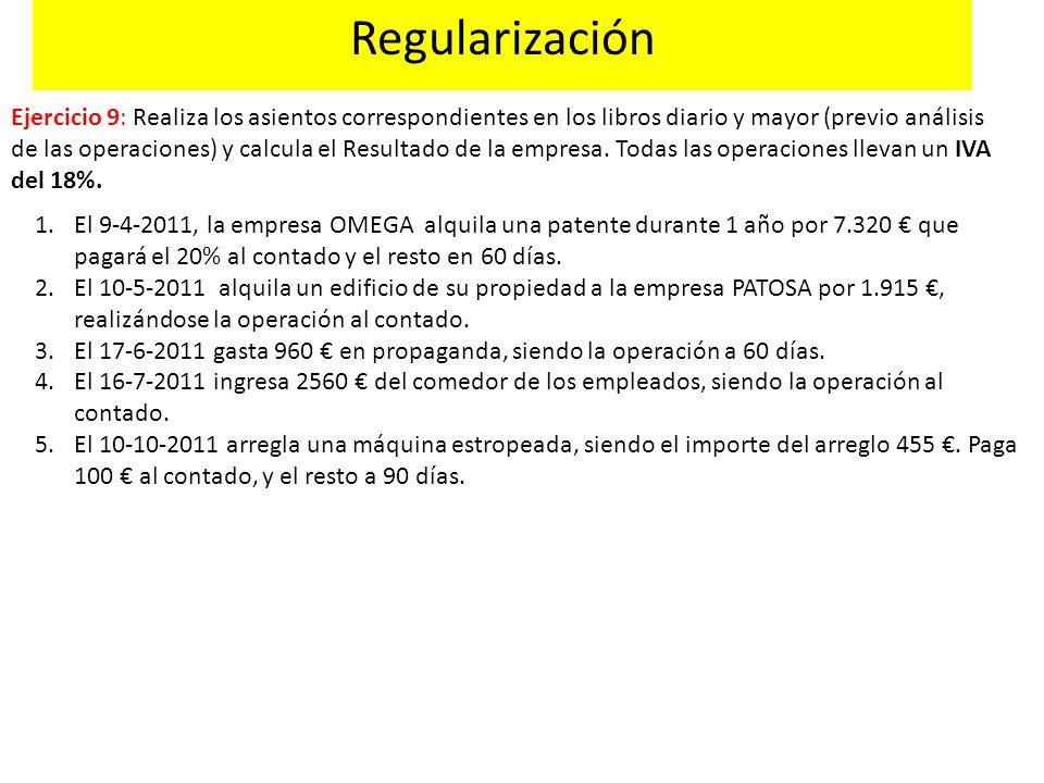 Regularización Ejercicio 9: Realiza los asientos correspondientes en los libros diario y mayor (previo análisis de las operaciones) y calcula el Resul