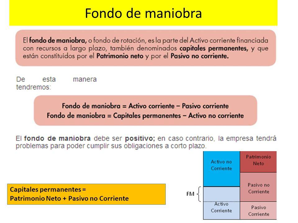 Fondo de maniobra Capitales permanentes = Patrimonio Neto + Pasivo no Corriente
