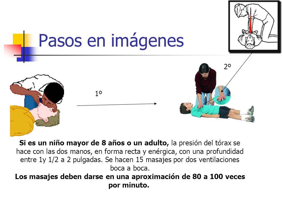 Pasos en imágenes Si es un niño mayor de 8 años o un adulto, la presión del tórax se hace con las dos manos, en forma recta y enérgica, con una profundidad entre 1y 1/2 a 2 pulgadas.