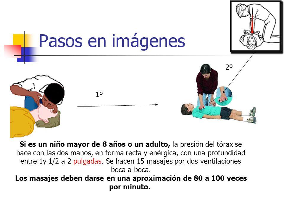 Pasos en imágenes Si es un niño mayor de 8 años o un adulto, la presión del tórax se hace con las dos manos, en forma recta y enérgica, con una profun