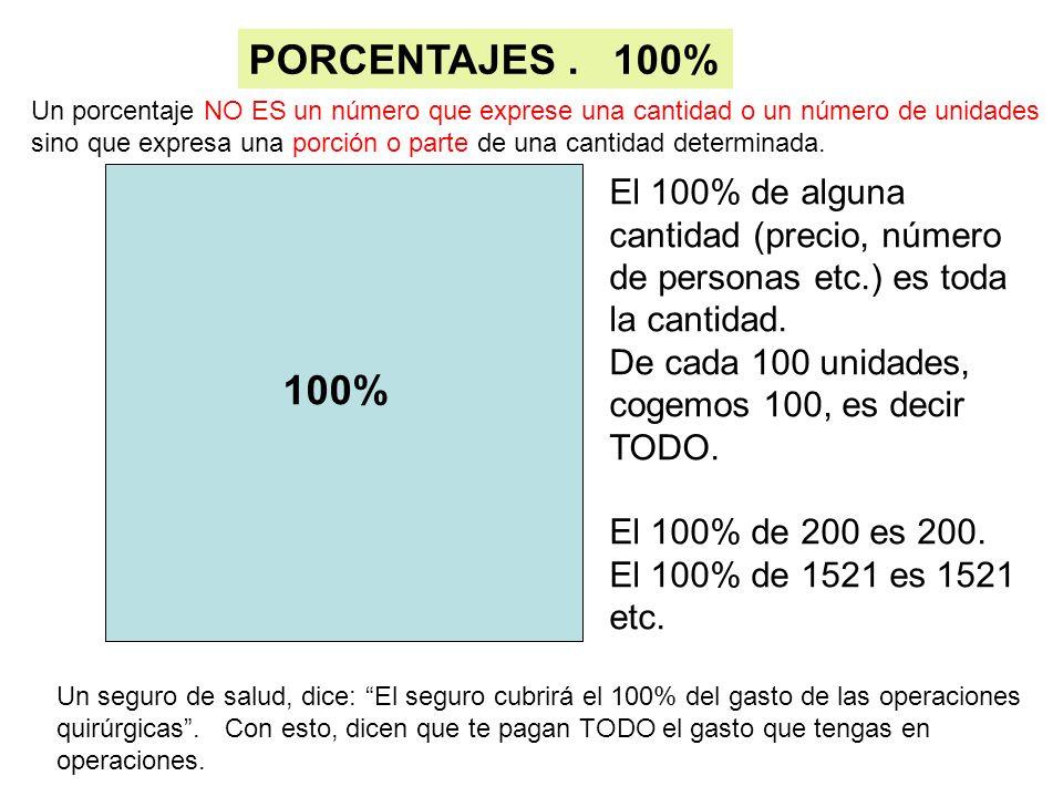 100% El 100% de alguna cantidad (precio, número de personas etc.) es toda la cantidad. De cada 100 unidades, cogemos 100, es decir TODO. El 100% de 20