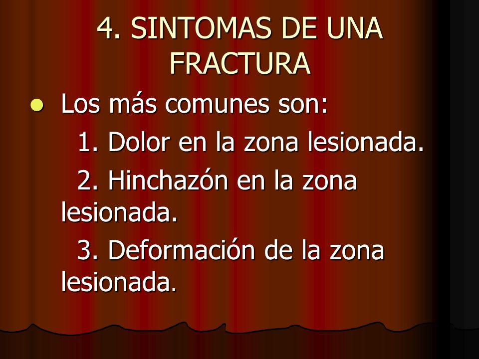 4.SINTOMAS DE UNA FRACTURA 4. Dificultad para utilizar o mover la zona lesionada de forma normal.