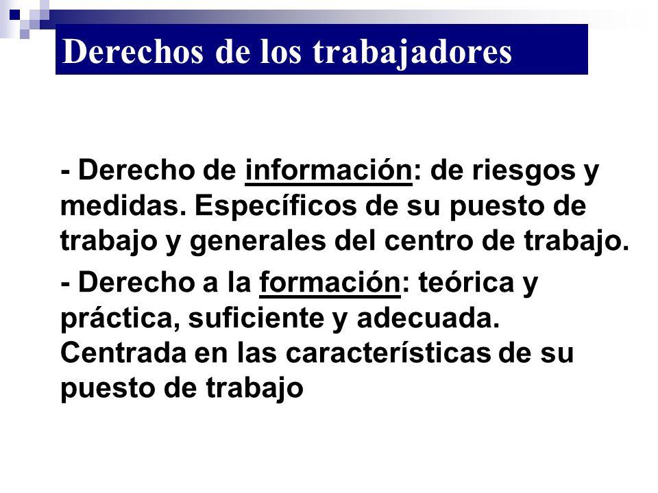 - Derecho de información: de riesgos y medidas. Específicos de su puesto de trabajo y generales del centro de trabajo. - Derecho a la formación: teóri