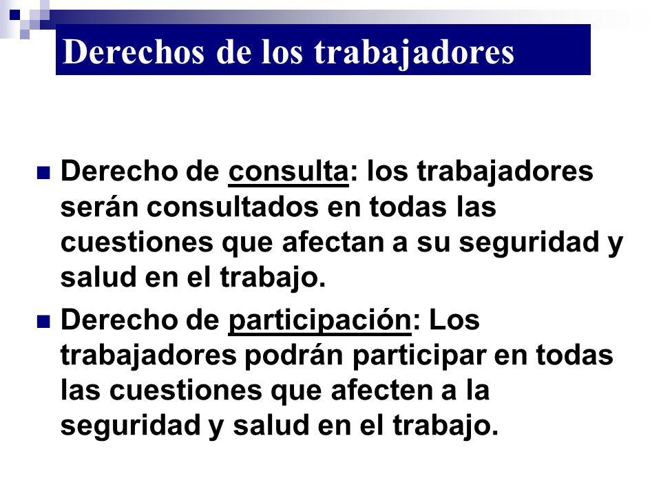 Derecho de consulta: los trabajadores serán consultados en todas las cuestiones que afectan a su seguridad y salud en el trabajo. Derecho de participa