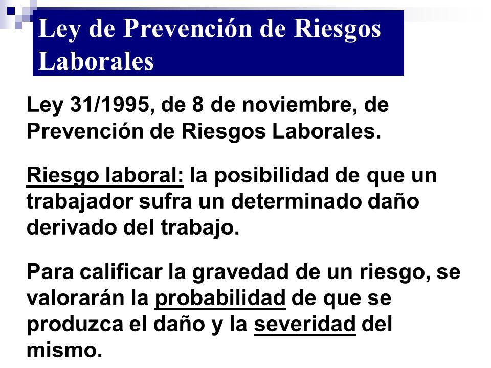 Ley 31/1995, de 8 de noviembre, de Prevención de Riesgos Laborales. Riesgo laboral: la posibilidad de que un trabajador sufra un determinado daño deri