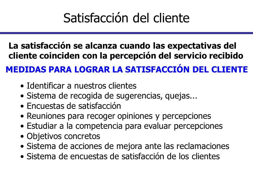 La satisfacción se alcanza cuando las expectativas del cliente coinciden con la percepción del servicio recibido MEDIDAS PARA LOGRAR LA SATISFACCIÓN D