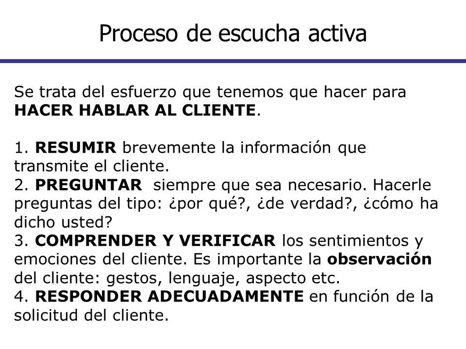 Se trata del esfuerzo que tenemos que hacer para HACER HABLAR AL CLIENTE. 1. RESUMIR brevemente la información que transmite el cliente. 2. PREGUNTAR