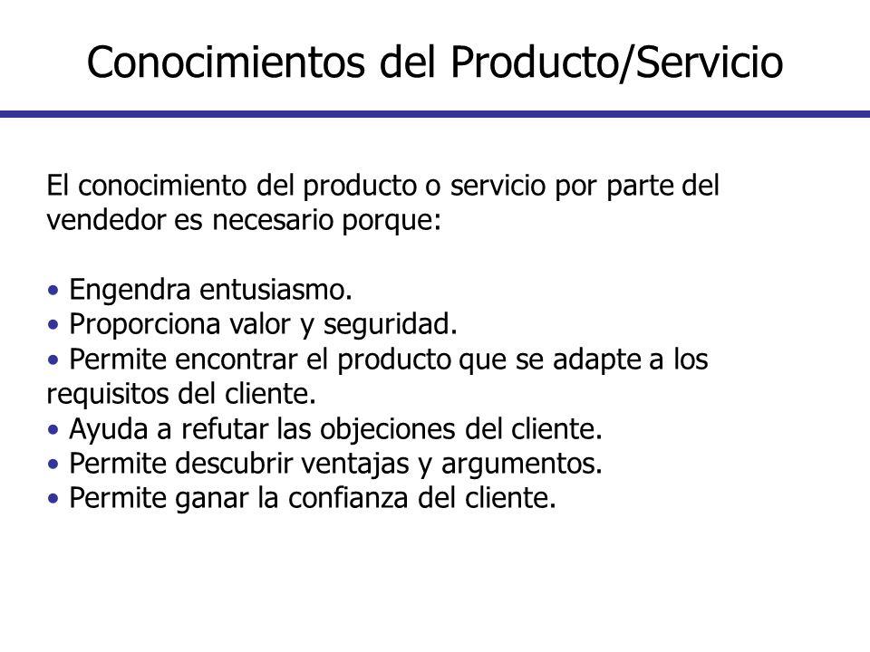 El conocimiento del producto o servicio por parte del vendedor es necesario porque: Engendra entusiasmo. Proporciona valor y seguridad. Permite encont