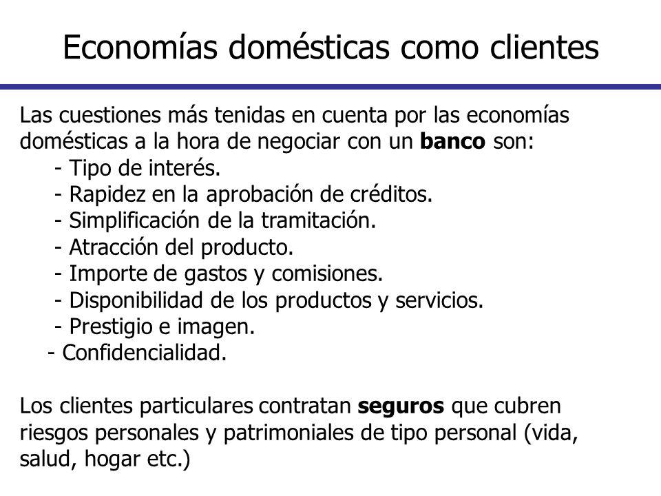 Las cuestiones más tenidas en cuenta por las economías domésticas a la hora de negociar con un banco son: - Tipo de interés. - Rapidez en la aprobació