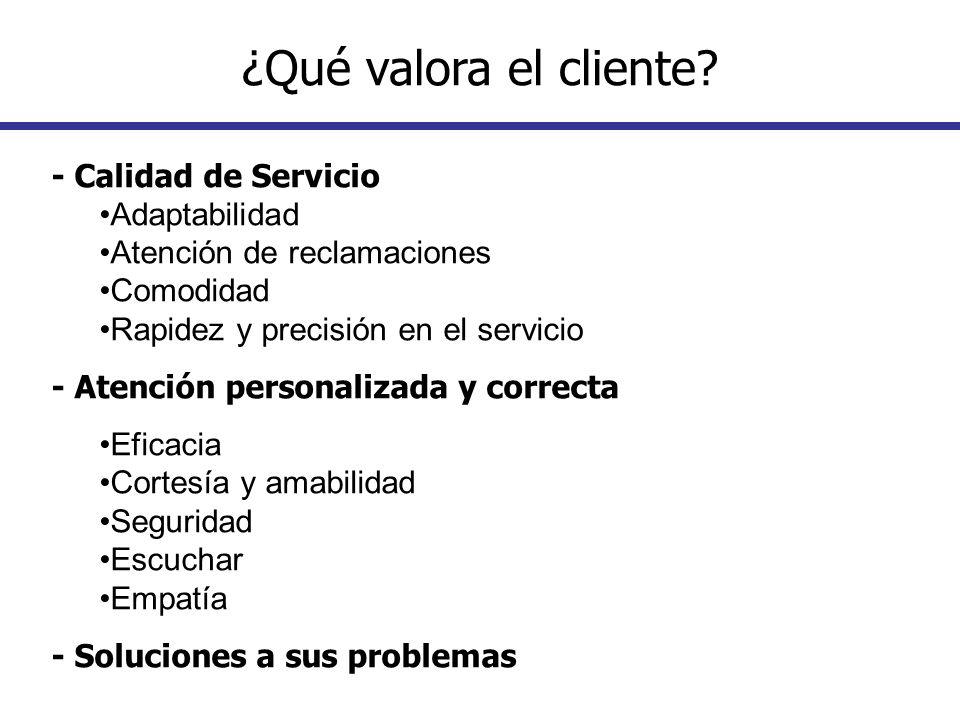 - Calidad de Servicio Adaptabilidad Atención de reclamaciones Comodidad Rapidez y precisión en el servicio - Atención personalizada y correcta Eficaci