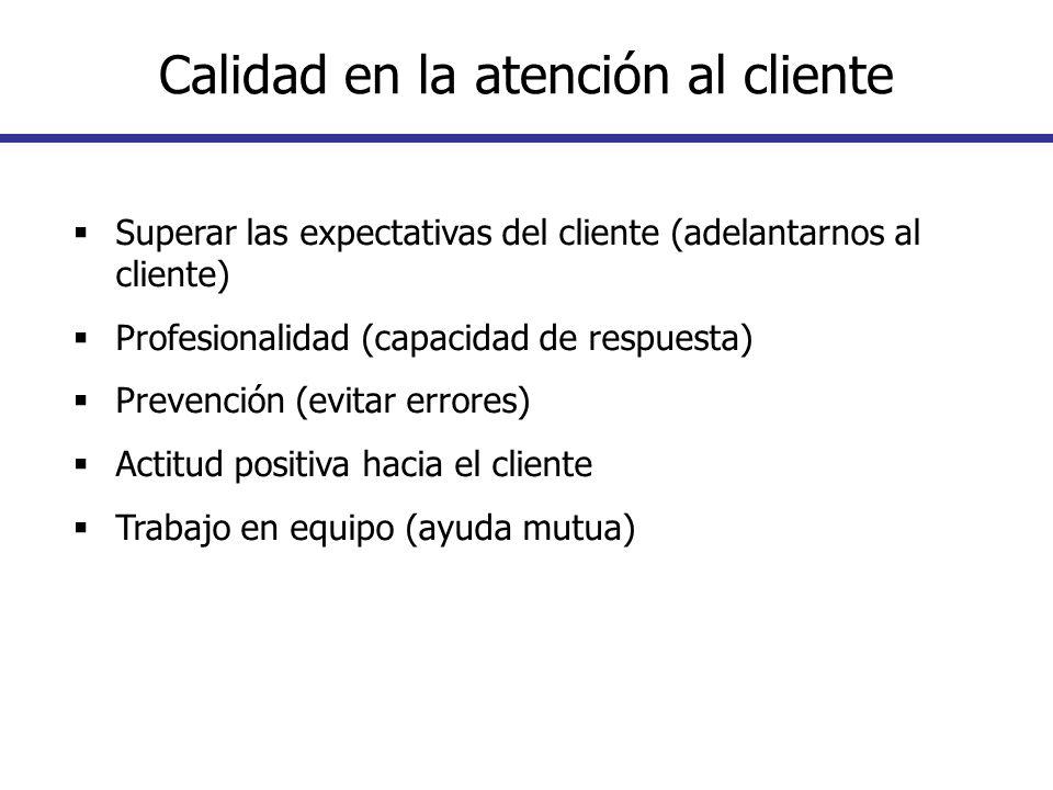 Superar las expectativas del cliente (adelantarnos al cliente) Profesionalidad (capacidad de respuesta) Prevención (evitar errores) Actitud positiva h