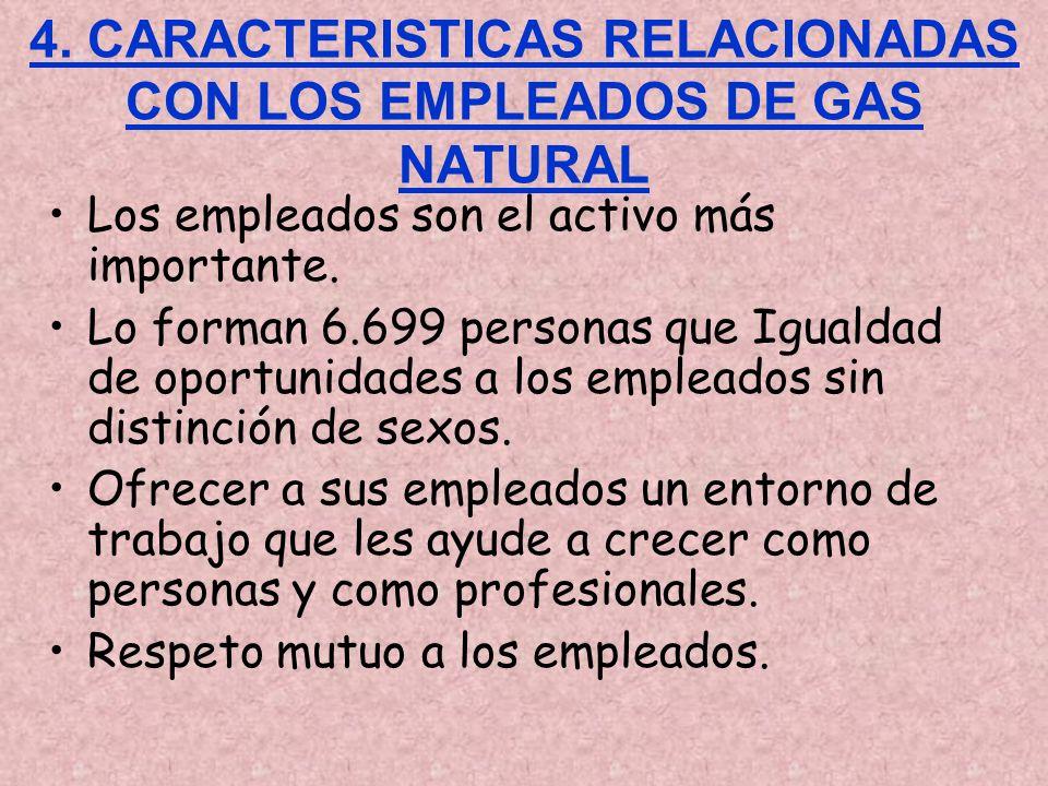 4. CARACTERISTICAS RELACIONADAS CON LOS EMPLEADOS DE GAS NATURAL Los empleados son el activo más importante. Lo forman 6.699 personas que Igualdad de