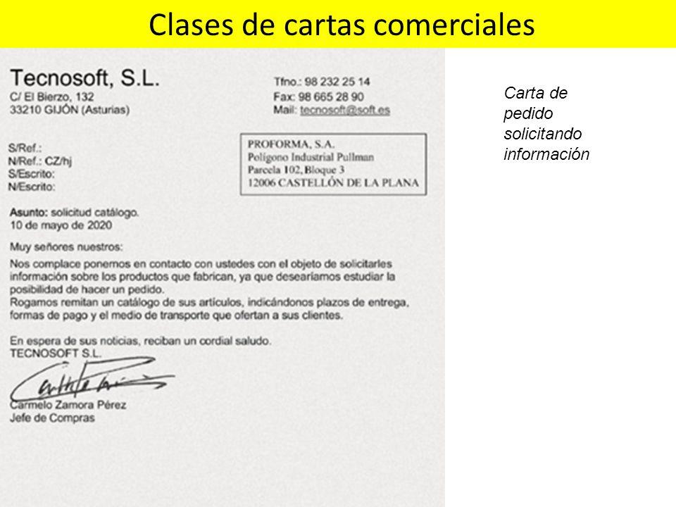 Clases de cartas comerciales Carta de pedido solicitando información