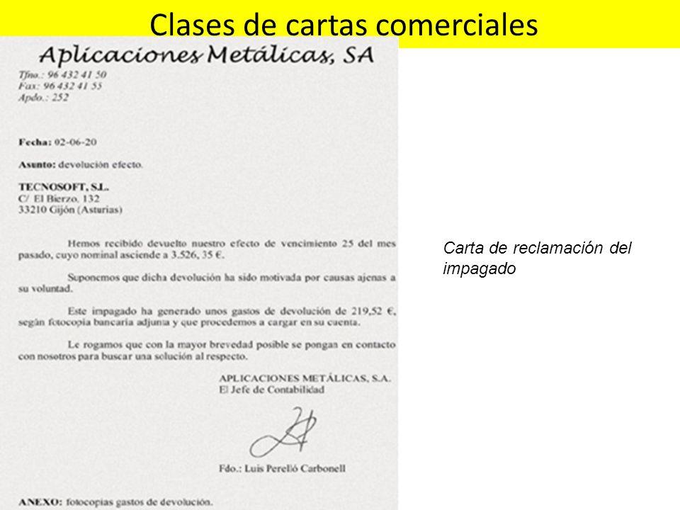 Clases de cartas comerciales Carta de reclamación del impagado