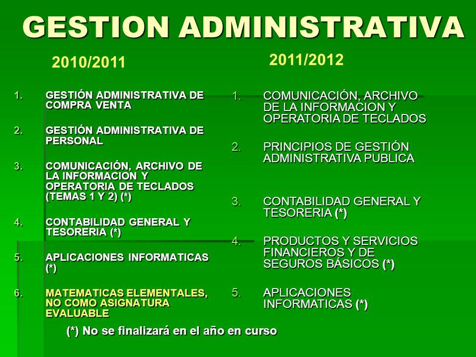 GESTION ADMINISTRATIVA 1.CONTABILIDAD GENERAL Y TESORERIA 2.PRODUCTOS Y SERVICIOS FINANCIEROS Y DE SEGUROS BÁSICOS 3.FORMACIÓN Y ORIENTACIÓN LABORAL 4.APLICACIONES IFORMATICAS 2012/2013