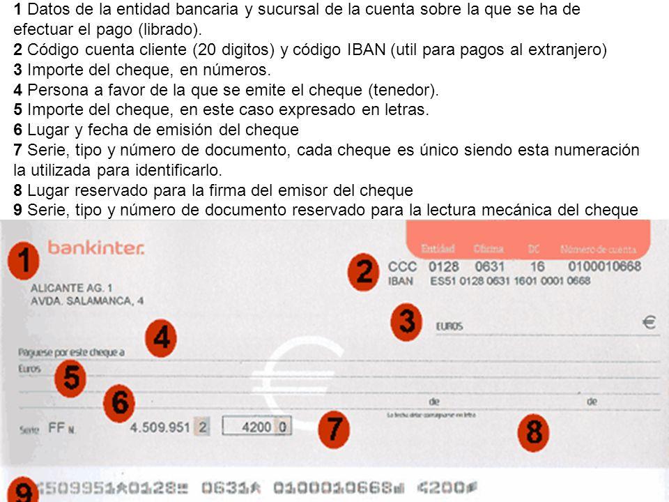 1 Datos de la entidad bancaria y sucursal de la cuenta sobre la que se ha de efectuar el pago (librado). 2 Código cuenta cliente (20 digitos) y código