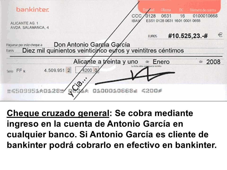 Cheque cruzado general: Se cobra mediante ingreso en la cuenta de Antonio García en cualquier banco. Si Antonio García es cliente de bankinter podrá c