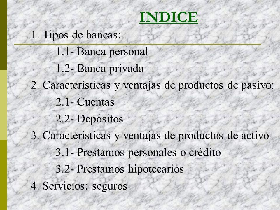 INDICE 1.Tipos de bancas: 1.1- Banca personal 1.2- Banca privada 2.