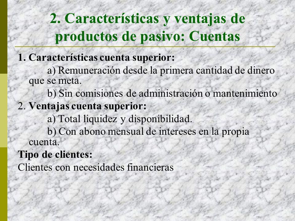 2.Características y ventajas de productos de pasivo: Cuentas 1.