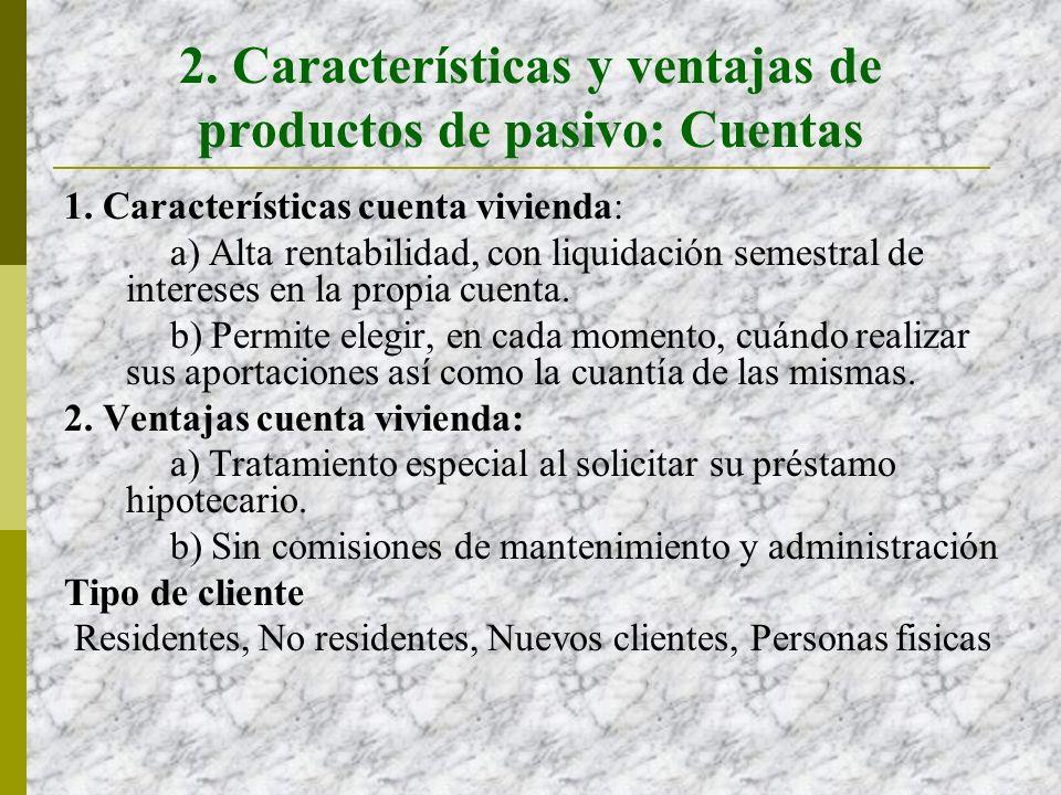 2.Características y ventajas de productos de pasivo: Depósitos 1.