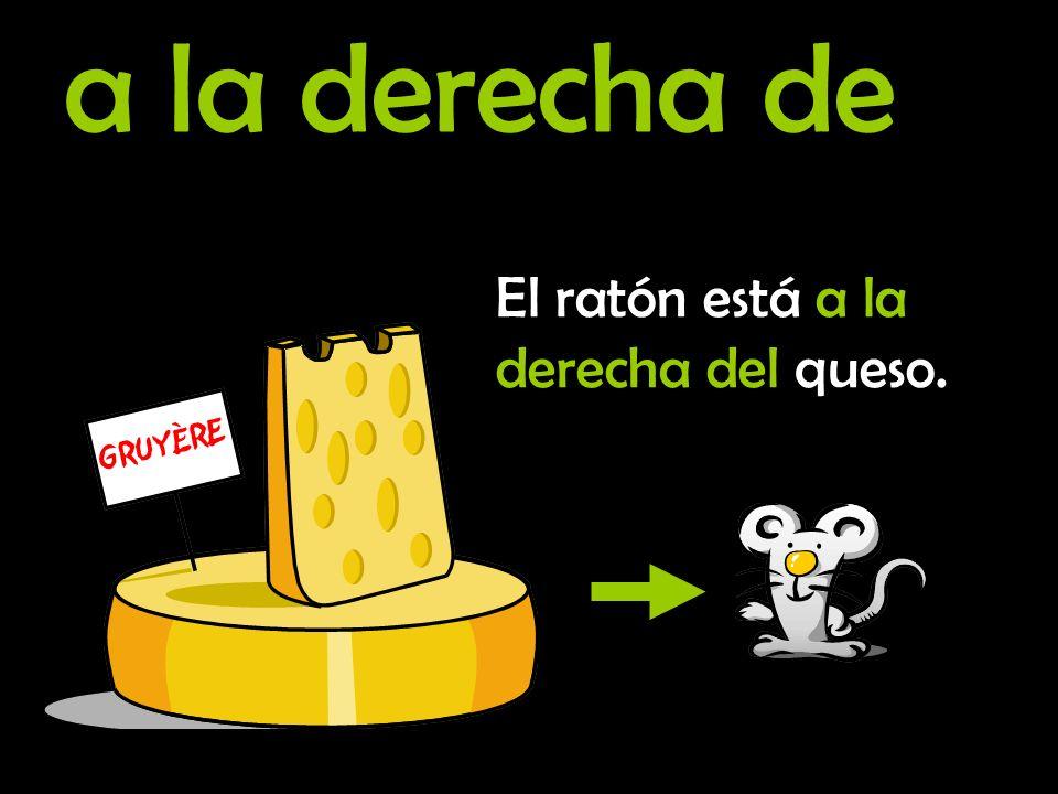 a la izquierda de El ratón está a la izquierda del queso.