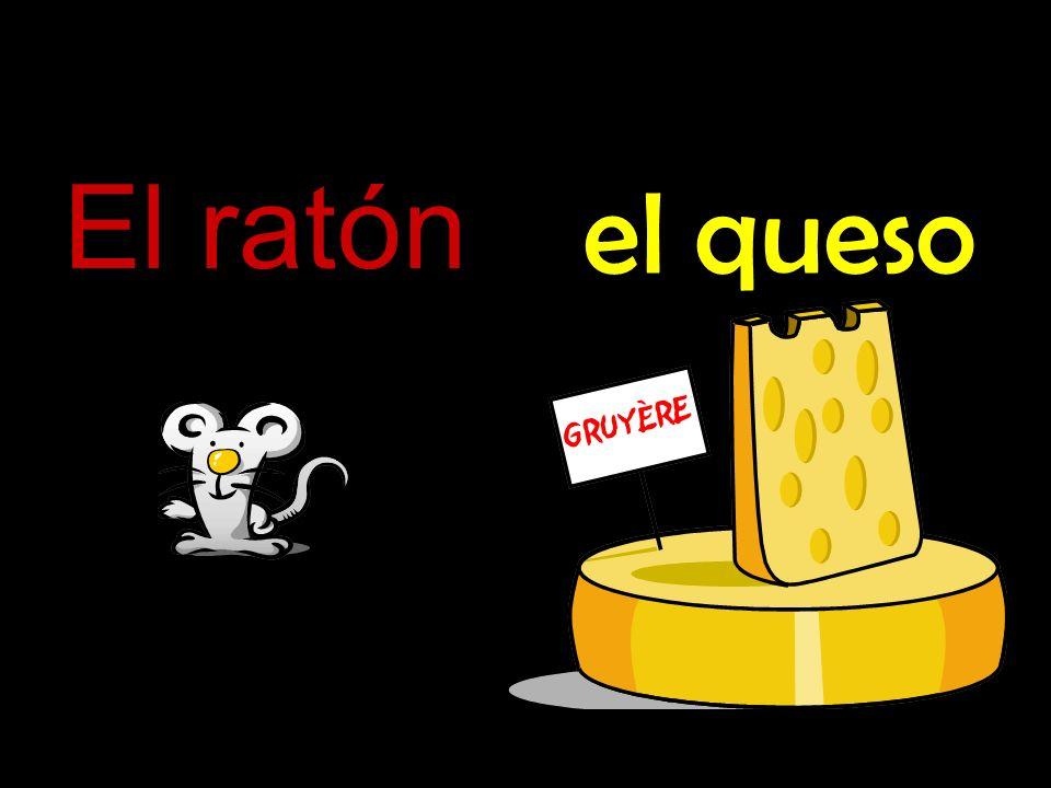 dentro de El ratón está dentro del queso.