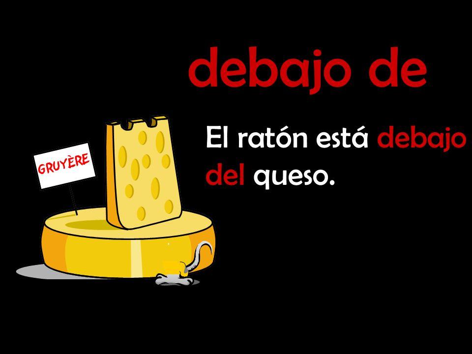 debajo de El ratón está debajo del queso.