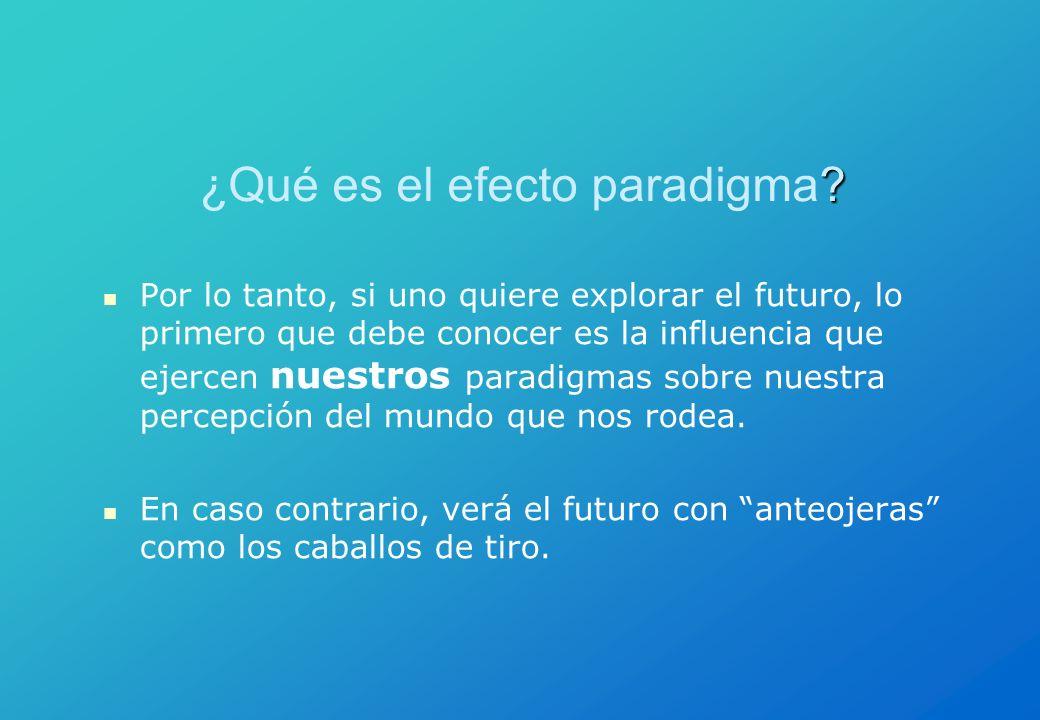 ? ¿Qué es el efecto paradigma? Por lo tanto, si uno quiere explorar el futuro, lo primero que debe conocer es la influencia que ejercen nuestros parad