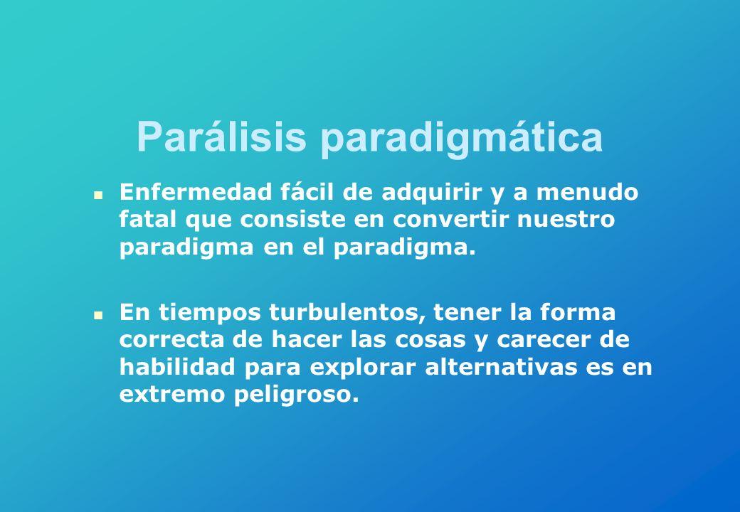 Parálisis paradigmática Enfermedad fácil de adquirir y a menudo fatal que consiste en convertir nuestro paradigma en el paradigma. En tiempos turbulen